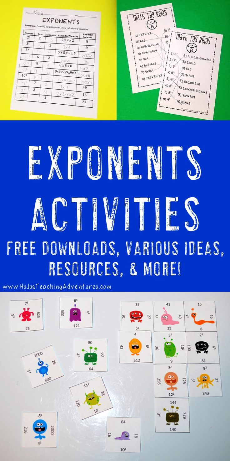 Finding great exponents activities can sometimes be a challenge, but not anymore! With the great games, math centers and stations, FREE downloads, printable worksheets, and resources included at this blog post - you're sure to find great ideas you can use