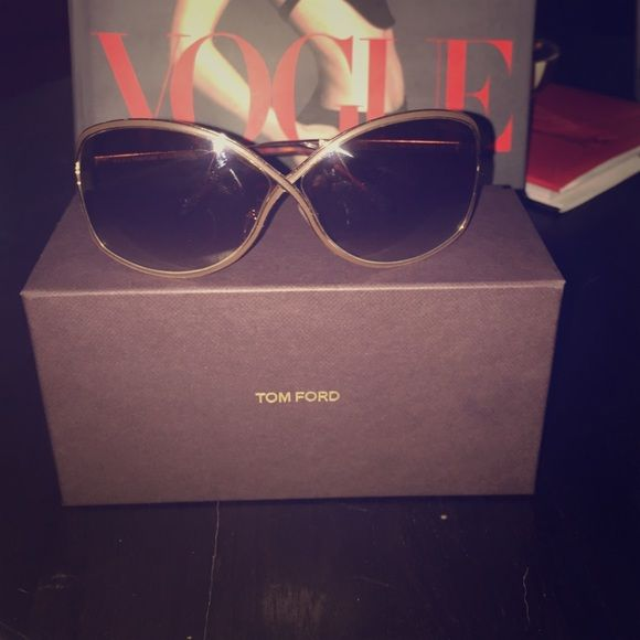 """Tom Ford """"Miranda"""" Sun glasses. Gorgeous, gently used Tom Ford """"Miranda"""" sunglasses. Brown lenses, gold trim, staple Tom Ford criss-cross nose piece. Tom Ford Accessories Glasses"""