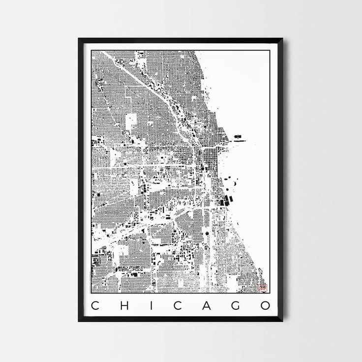 Chicago schwarzplan map art city posters. Unique interior decor idea for offices art posters or kitchen art prints.  Minimalist city art gifts for travelers as framed art or canvas wall art. Urban plan map style. print, poster, gift | CityArtPosters.com