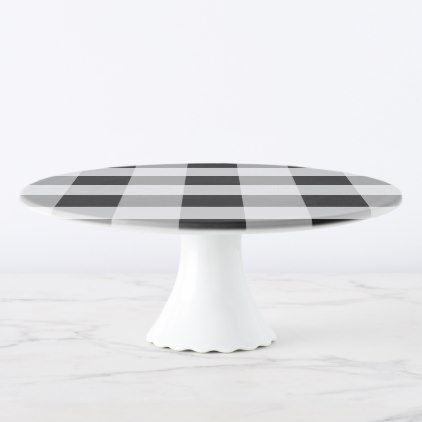 Abstract geometric pattern - black and white. cake stand - black and white gifts unique special b&w style