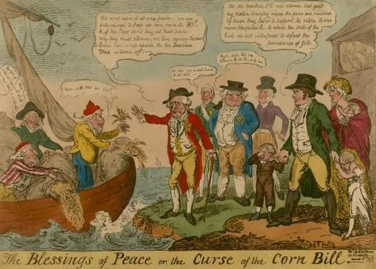 The Road to Waterloo, Part II: Londoners Riot & the News Arrives (caricature: Corn Law)