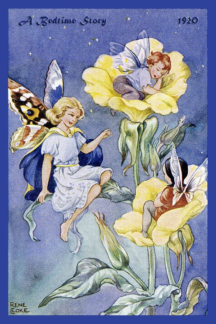 A Bedtime Story Fairy by Rene Cloke from the 1920s. Quilt Block of vintage fairy image printed on cotton. Ready to sew.  Single 4x6 block $4.95. Set of 4 blocks with pattern $17.95.