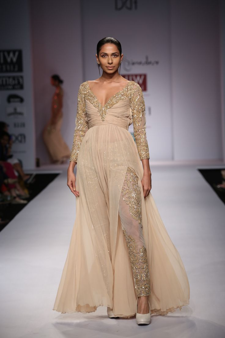 Gorgeous outfit by Rabani And Rakha #fdci #wifw SS14 #golden #shimmer #sheer #loveit
