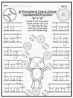 """FREEBIE:  If You Give A Dog A Donut FREE Handwriting Practice with the letters """"b"""" and """"d"""" (print). fairytalesandfictionby2.blogspot.com"""