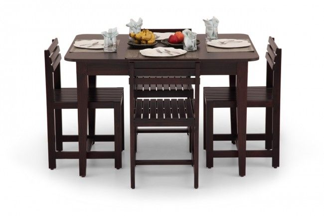 Bring elegance and charm into your dining room with this Compact Rectangular dining table set of 4 from Ekbote Furniture.