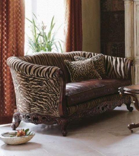 Brown Zebra Striped Sofa With Ornate Wooded Victorian Style Claw Feet With Accent Cheetah