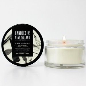Designed to help eliminate unwanted cooking odours!  Made with 100% Natural Soy Wax and a unique blend of fresh herbs, lemon and vanilla. $32.00 each from http://squoodles.co.nz