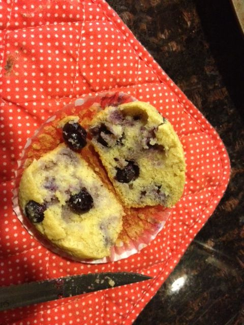 Paleo blueberry muffins. Currently in the oven!! Batter tasted good, can't wait for the baked ones  ;-)