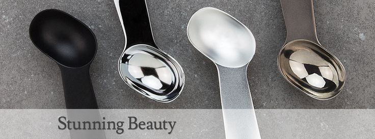The Belle-V Ice Cream Scoop: colors, Jet Black, Polished Silver and Chrome