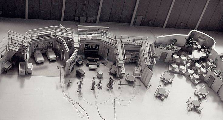 """An overhead shot of the complete set of """"I Love Lucy"""" as it was set up during the filming of the show."""