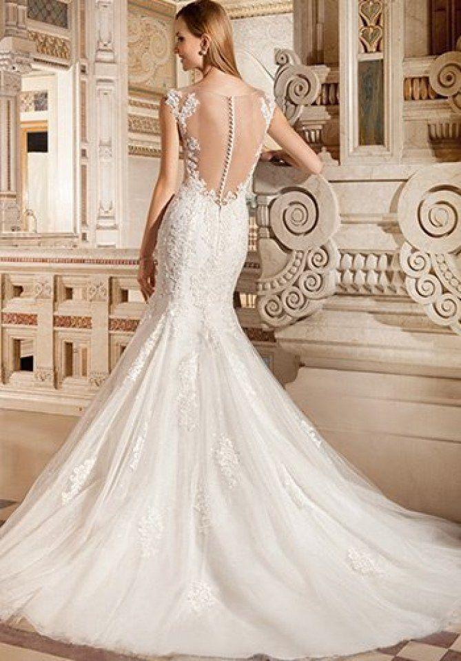 Robe de mariée sirène en dentelle à dos nu, Demetrios