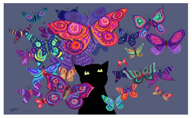 Cat with butterflyes by Rosalind Welcher