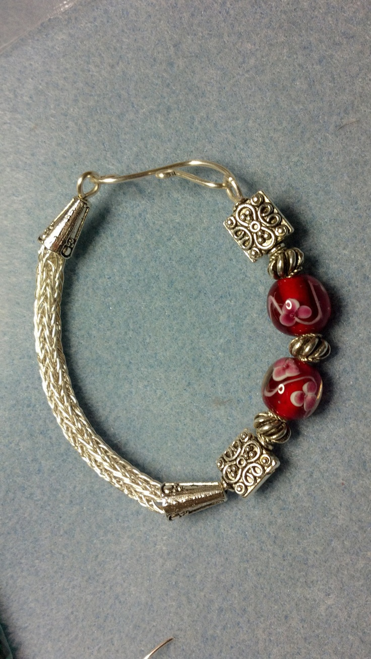 Silver viking weave bracelet with red fused glass by beadsnwire