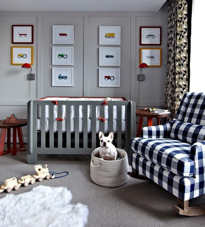 Gray and Blue Boys Transportation Nursery with Gingham Rocker, Gray Crib, Vehicle Nursery Art and Modern lines.