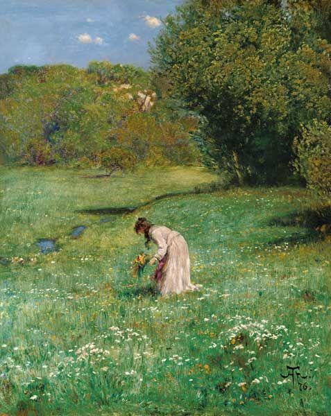 """""""Waldwiese"""" (1876) von Hans Thoma (geboren am 2. Oktober 1839 in Oberlehen, Bernau im Schwarzwald, heute Landkreis Waldshut, gestorben am 7. November 1924 in Karlsruhe), deutscher Maler und Graphiker."""