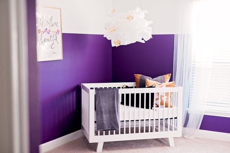 Eclectic Purple and White Girls Nursery - fab DIY hanging flower mobile!