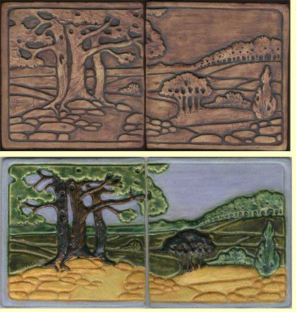 "Ravenstone Multiple Tiles - ""Oak Diptych"" Edition. Our Oak Diptych is a two tile set measuring approximately 6"" high by 12"" wide. It features spreading oak trees against rolling hills. The surface is raised and textured and a raised border runs along the perimeter. These tiles will be glazed to your specifications, creating a unique work of art. Many color combinations are possible. If you want some combination of colors that you don't see, please call or email to discuss new possibilities…"