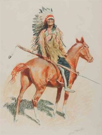 A BUNCH OF BUCKSKINS: A SIOUX CHIEF  Frederic Remington  Realized Price1,200 USD   Dimensions: 15 X 19.5 in.   Lithograph  Signed  http://www.zaidan.ca/Art_Gallery/Auctions/13_08_10_Altermann_Galleries,_Santa_Fe_August_Auction.htm