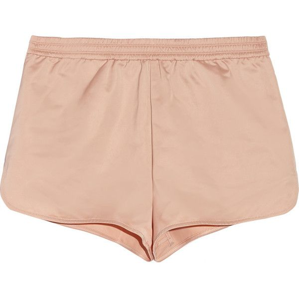 T by Alexander Wang Satin shorts ($69) ❤ liked on Polyvore featuring shorts, bottoms, pants, clothes - shorts, blush, loose shorts, elastic shorts, elastic waist shorts, elastic waistband shorts and pull on shorts
