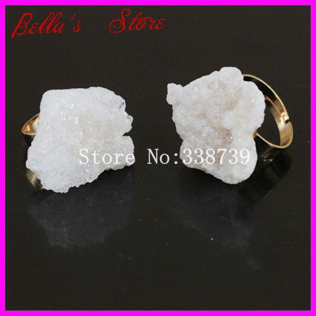 Красивый белый титан аб кварцевый Druzy кольцо настоящее золото ободок регулируемая кольцо кварц палец кольцо драгоценных камней Drusy агат кольцо