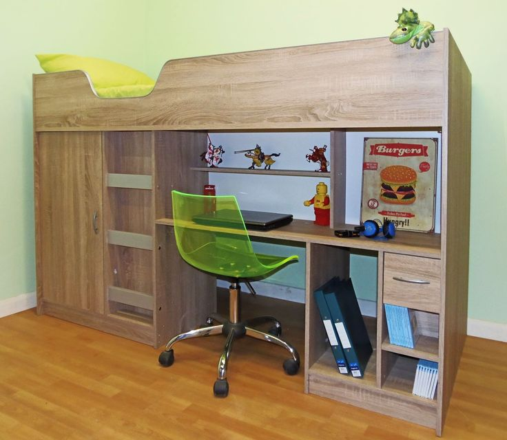 Childrens high sleeper cabin bed with wardrobe and desk, ideal for children from 6 -12 years of age.