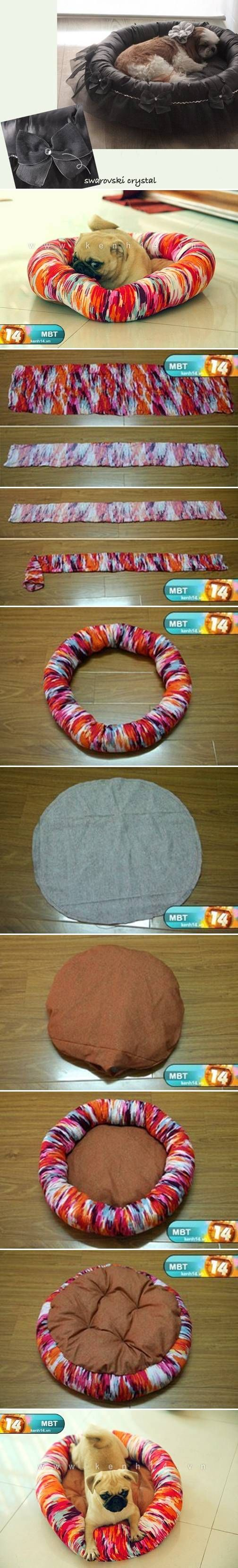 DIY Dog Bed-You can use any pretty material. Even up cycle stuff from thrift shop or your own closet!