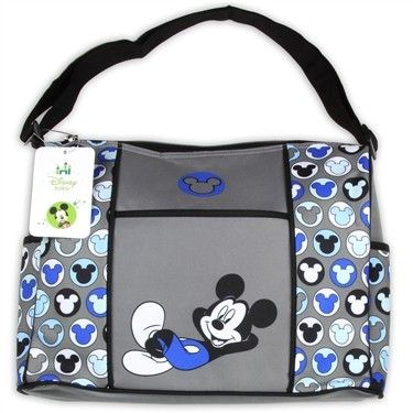 Disney Baby Blue Grey Mickey Mouse Diaper Bag Diaperbag