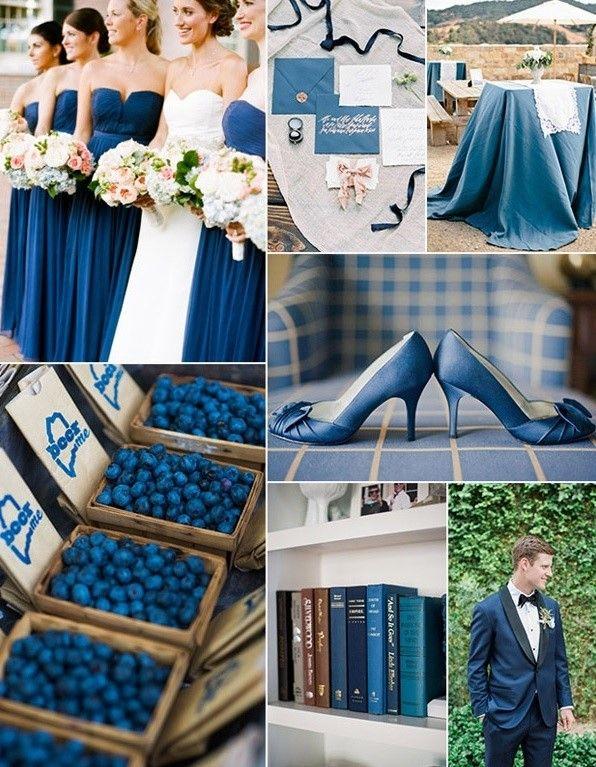 """El """"snorkel"""" es un tipo de azul que se acerca más al azul marino. Ideal para combinarlo con el blanco y perfecto para un evento de exterior. Es un color además que te permitirá combinar la decoración con elementos de vestuario, ya sea el vestido de las damas de honor, tus zapatos e incluso el traje del novio. Este azul se ha puesto muy de moda para el año 2017, y de hecho en muchas flores, lazos, en mantelería y hasta en los pasteles no los vamos a encontrar."""