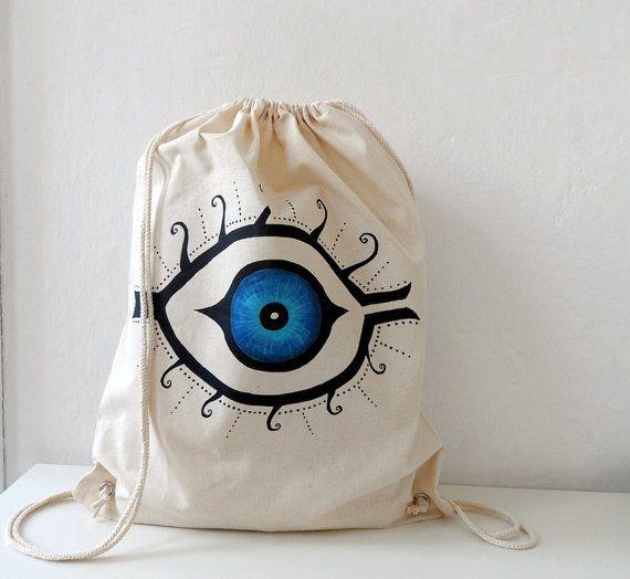 Cotton Backpack Mystic Eye  Printed Drawstring bag by ShebboDesign