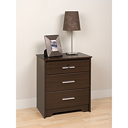 yaletown espresso wide locking 3 drawer night stand by prepac drawers night stands and products. Black Bedroom Furniture Sets. Home Design Ideas