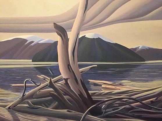 Ken Harrison - Porteau Cove Driftwood 30 x 40 Oil on canvas