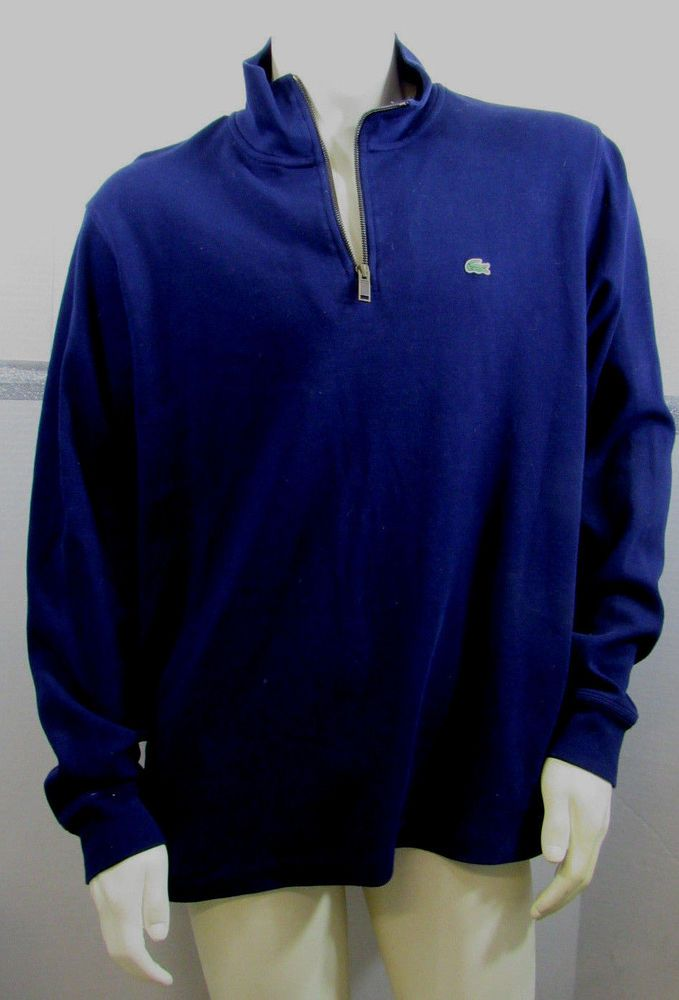 Lacoste Sweatshirt Mens XXXL Navy Blue Cotton Pockets EUC #Lacoste #14ZipPulloverSweatshirt