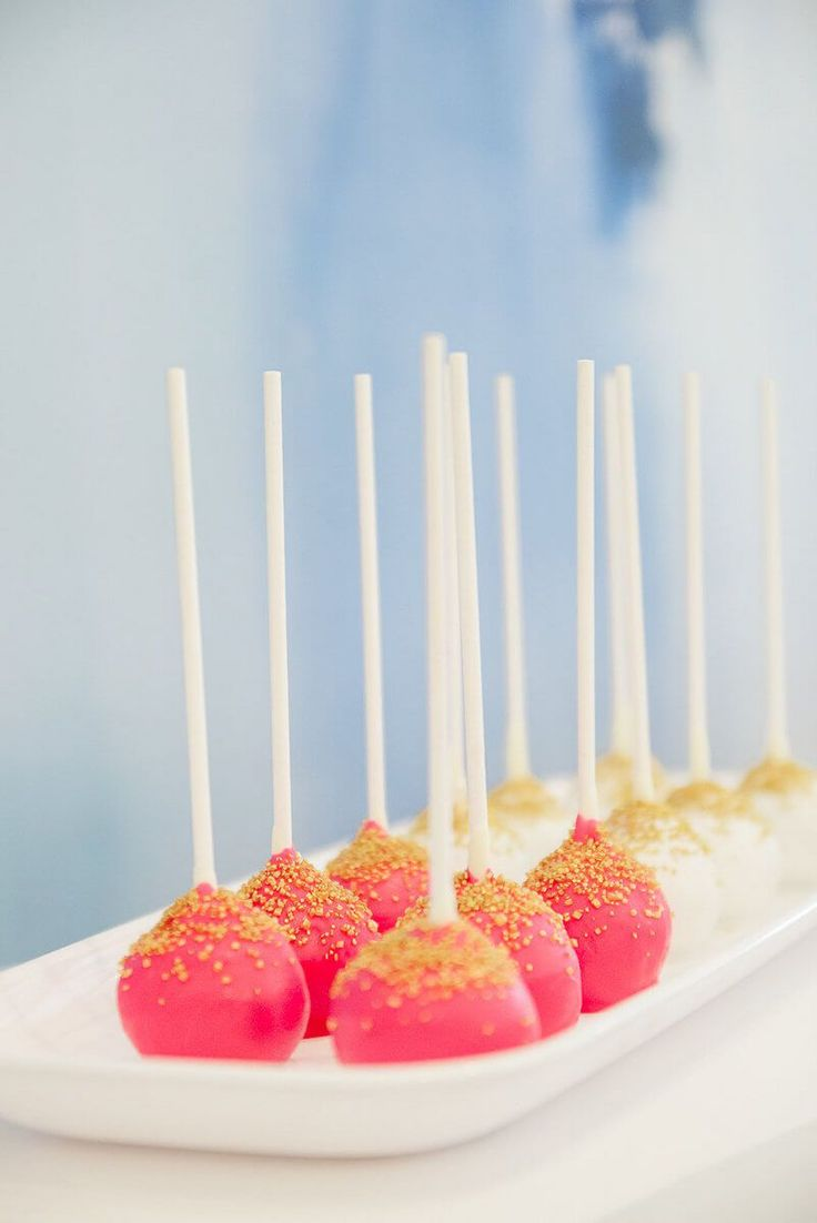 Artsy Glam Wedding Inspiration - bright pink and gold cake pops