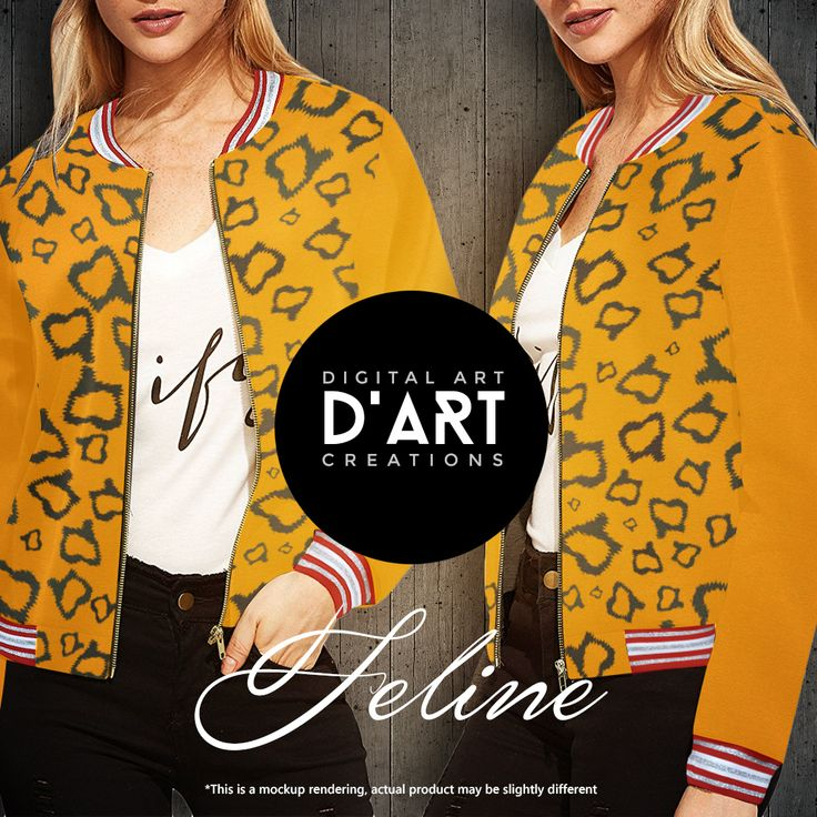 Feline design in yellow and black tones... --- #jacket #