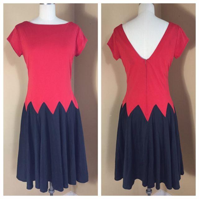 Vintage 1980s Dress Devil Girl Halloween Costume Red Black knit retro 80s style   eBay