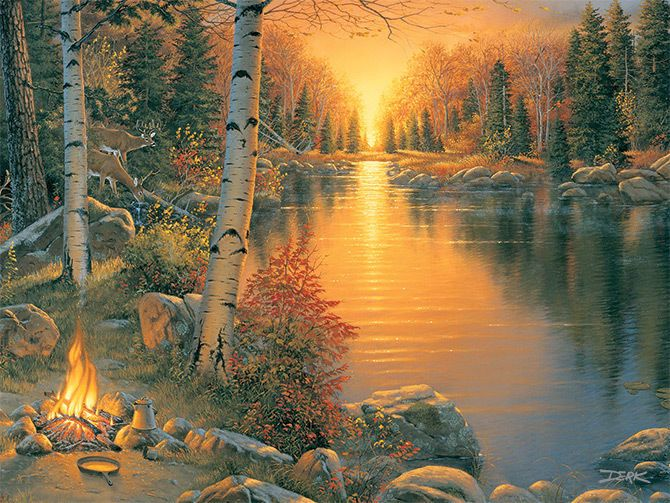 LED Lighted~Campfire~Canvas Art Picture Country Lodge Decor Light Cabin Print