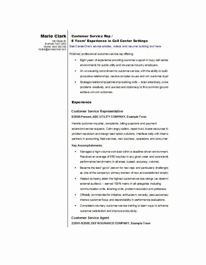 Customer Service Resume Templates Beautiful 30 Customer Service