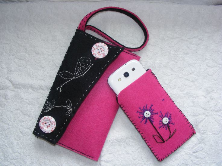 Felt purse, felt handpurse,handmade, pink handbag, wallet pouch, make up bag, phone case, pink phone case, felt phone case, by EmeseArtizan on Etsy