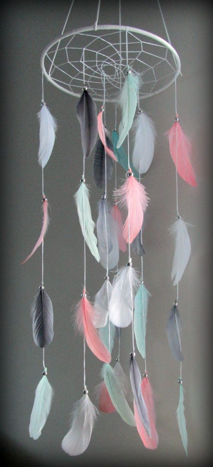 Coral Pink Mint Gray Baby Mobile, Dream catcher Mobile, Boho Feather Mobile…