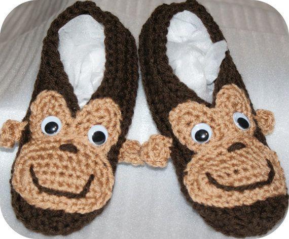 Monkee Slippers by CheekeemonkeeStore on Etsy