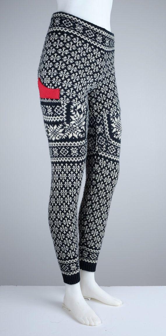 """Dames Swants """"Middeleeuwse Winter"""" M – gezellige comfortabele upcycled brei patroon legging gemaakt van truien"""
