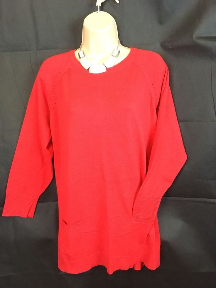 RED HERRING LONG SLEEVE THIN KNIT RED JUMPER  SIZE 18 SPRING SUMMER  FREE PP