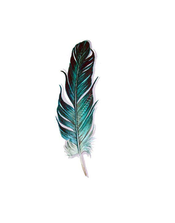 Aquamarine Feather Painting  Original Watercolor por jodyvanB, $40.00