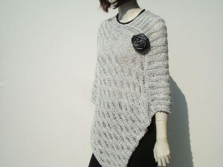 Poncho Loose Knit Woman Poncho Grey Women's by GreenCatStudio