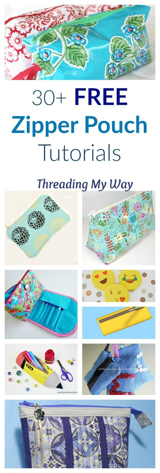 30+ free zipper pouch tutorials - makeup bags, lingerie bags, toiletry bags, pencil cases, coin purses, keychains ~ Threading My Way