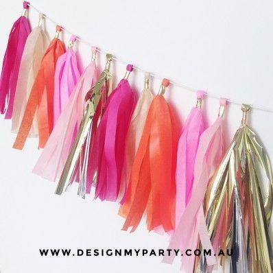 Gold, Orange, Pink Tissue Tassel Garland