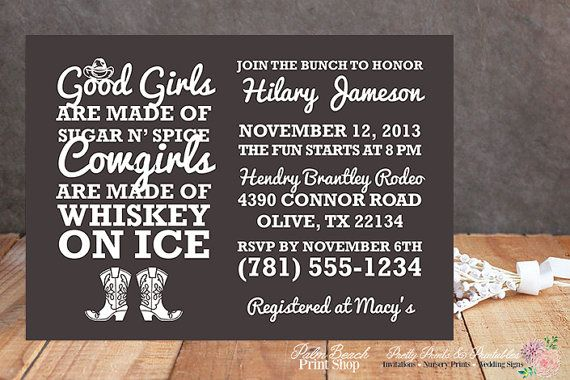 Whiskey on Ice Cowgirl Bachelorette Party Invitations - Western Bachelorette Invitations - Printable Country Bridal Shower Invitations