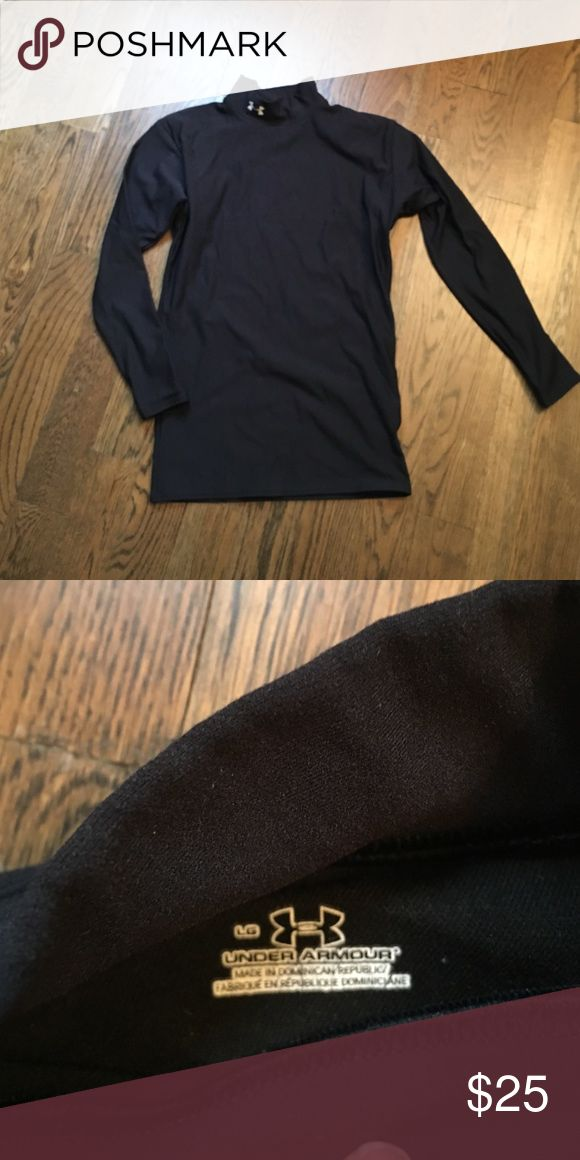 Black under Armour mock turtle neck Under Armour mock turtle neck women's large. Great for layering in the cold weather barley worn. Under Armour Tops