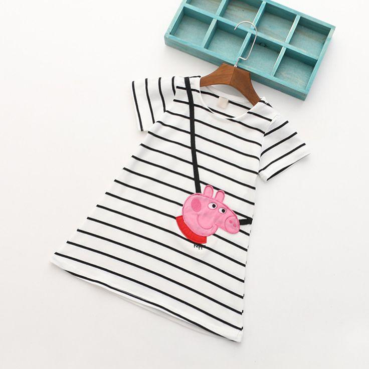 summer kids girls cute pappe pig stripe summe dress #kids dress#pig#baby#summer dress#baby dress#striped dress