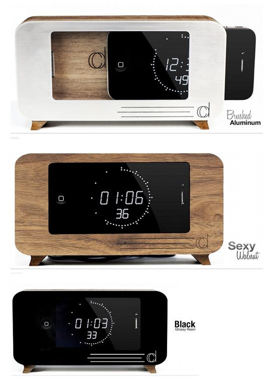 Cdock by James Sproul & Adam Shearer. A handmade iPod / iPhone docking station that also acts as a retro clock and a (mini) flat screen TV.